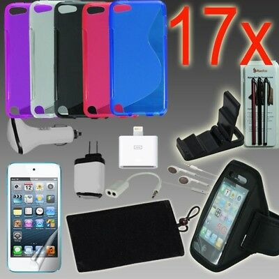 17pcs iPod Touch 5/6 Accessories Bundle,TPU Case,Armband,Home Car Charger,Earbud