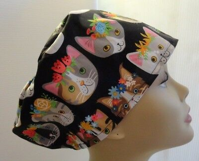 WOMEN'S SURGICAL_SCRUB HAT_CAP_kitty faces flowers different breeds cotton