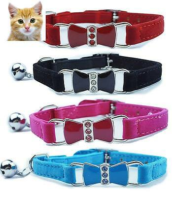 Cat Safety Collar Pet Suede Bow Tie w/ Crystals - Red, Blue, Pink & Black - 30cm