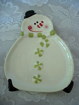 Collectible PACIFIC ISLAND CREATIONS Hand Painted Snowman Ceramic Spoon Rest
