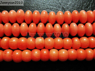 Natural Coral Gemstone 5x7mm 5x8mm Rondelle Loose Beads Orange 16'' Strand