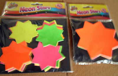 Neon Price Stars Craft Cards  Small X 60  Large X 40