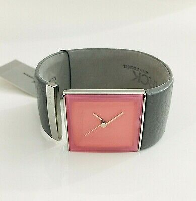 NWT Philippe Starck Womens Tailgate Watch by Fossil Pink Dial Grey Bangle PH7001