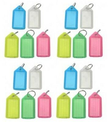 5 10 25 50 100 200 Key Click Tags RINGS COLOURED PLASTIC ID NAME CARD FOB Label