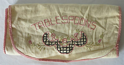 "Antique Hand Embroidered Linen Roll ""TABLESPOONS"""