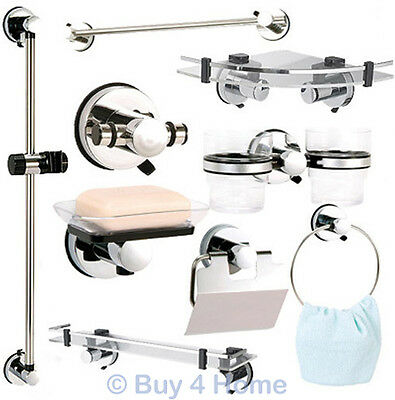 Showerdrape Super Suction Axis Bathroom Accessories Hook Ring Dish Rail Shelf
