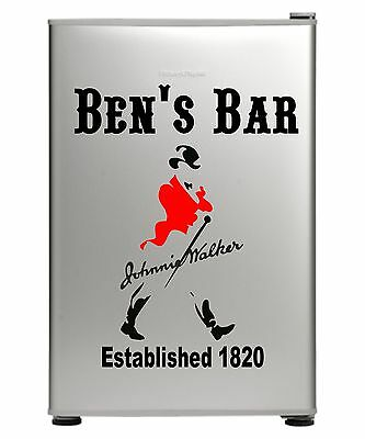 Johnnie Walker Bar Fridge Vinyl Cut Sticker Decal With Your Name
