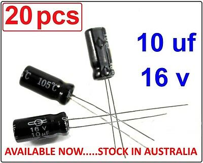10uF 16V Electrolytic Capacitor Radial Lead 105°c - 20 pieces - (Part# RC006)