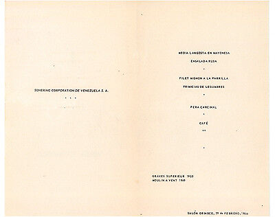 Hotel Tamanaco Intercontinental Menu Schering Corporation 1956 Caracas Venezuela