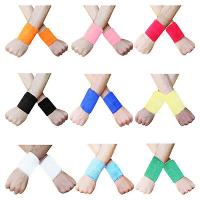 "Sweat Wristband 3.5"" Sport Aerobics Sweatband Wristband One Pair"
