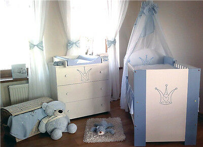 baby komplettzimmer prinzessin kinder bett 120x60 wickelkommode bettw sche set eur 289 90. Black Bedroom Furniture Sets. Home Design Ideas