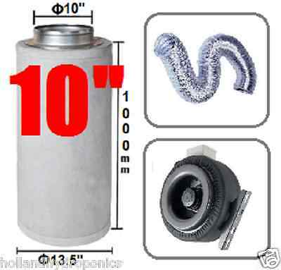 "10"" Carbon Filter Duct Fan Ducting Ventilation combo for Hydroponic Grow Tent"