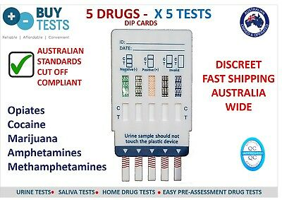 5 x URINE Drug Test - 5 Drugs Dip Card to Australian Std, Easy Drug Test Kits