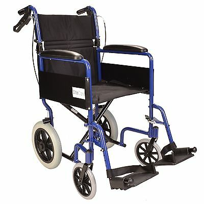 Lightweight folding Transit aluminium travel wheelchair with handbrakes ECTR01