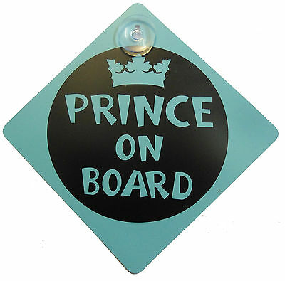 Car Child Safety Prince on Board Baby Boy Windscreen Vechicle Sign Suction Cup