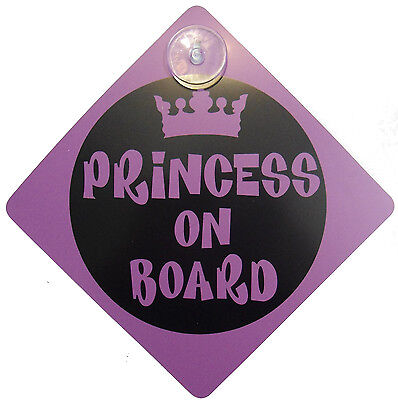 PRINCESS ON BOARD Baby Child Vechicle Signs Safety Warning Badge Suction Cup