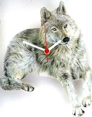 White Wolf Wild Animal Wall Clock Made In UK Gift Boxed