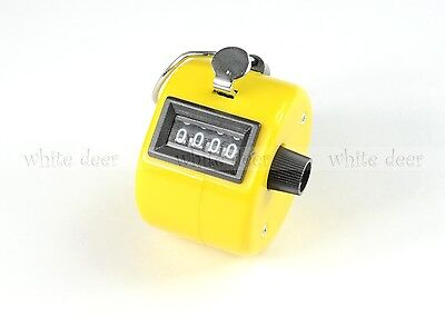 4 Digit Number Dual Clicker Golf Hand Tally Counter Yellow Handy Convenient