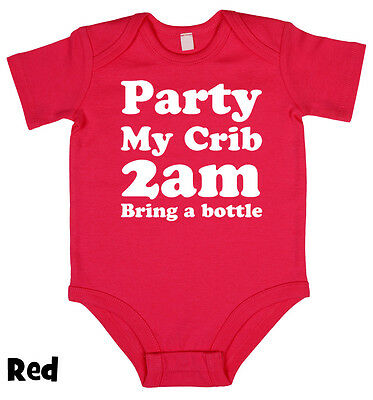 Party My Crib 2am Babygrow vest Boy Girl Babies Clothes Gift Funny Cool Present