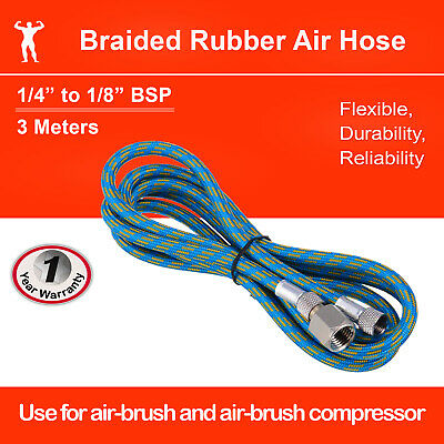 "Airbrush Adaptor Hose 1.8m Braided Rubber 1/8""-1/4"""
