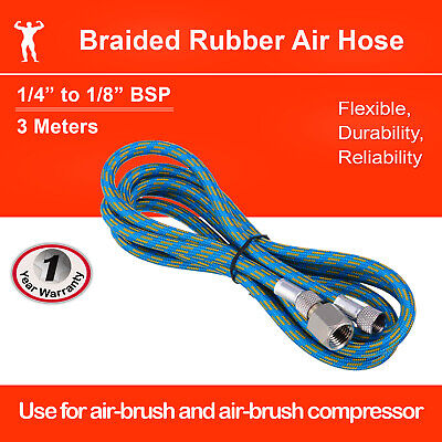 "Airbrush Adaptor Hose 3 meters Braided Rubber 1/8""-1/4"" BSP 3m"