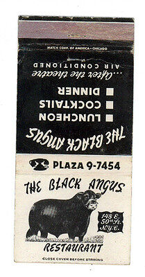 The Black Angus Restaurant New York Matchbox Label America
