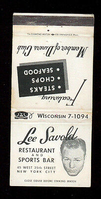 Lee Savold Restaurant And Sports Bar Boxe New York Matchbox Label America