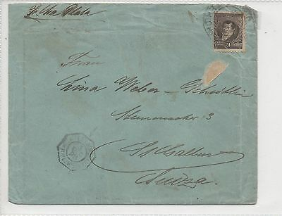 ARGENTINA COVER TO SWITZERLAND. BLACK 24c. SEAPOST 1898. RECEIVERS CD ON REVERSE
