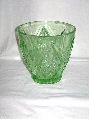 Art Deco Circa 1930's Depression Green Glass Vase 13.5cm High & Wide At Top