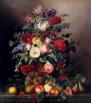 Dream-art oil painting A Still Life With Assorted flowers & fruits on canvas 36""