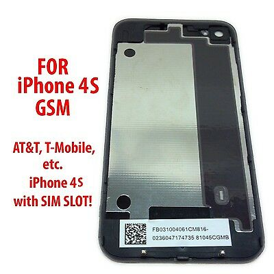 New Black Battery Cover Back Door Rear Glass OEM for iPhone 4 4S - USA Seller
