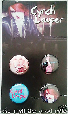 CYNDI LAUPER 4 Button BADGE Pack on Card Music Merchandise Memorabilia 25mm