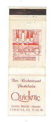 Quicknic Bar Restaurant Caracas Venezuela Matchbox Label Anni '50 America