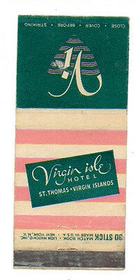 Virgin Isle Hotel St. Thomas Virgin Island Matchbox Label Anni '50 America
