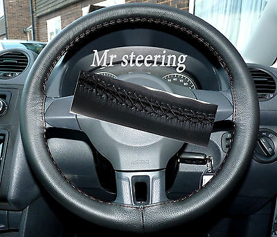 Fits Vw Caddy Mk3 Facelift 2010+ Real Black Leather Steering Wheel Cover New