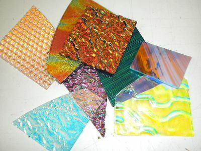 CBS Dichroic Glass Scrap:4 Oz.Jewelers Pack. 90COE MIXED on Black & Clear