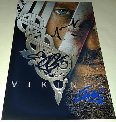 "Vikings Cast X3 Pp Signed Poster 12""x8"" Travis Fimmel"