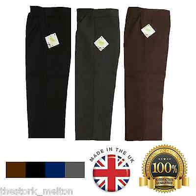 Boys School Trousers Uniform Black Grey Brown Teflon Ages 1- 15 Years Quality