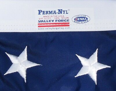 Commercial Grade- Valley Forge US American Flag 3'x5' sewn Nylon -100% USA Made!