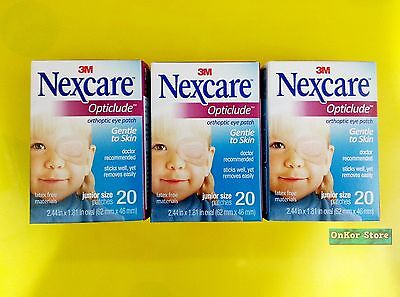 3M NEXCARE OPTICLUDE JUNIOR 1537 Orthoptic Eye Patch 3 Box/ 60 Patch 2.44 X 1.81