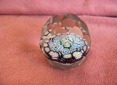 Vintage Art Glass Crystal Millefiori Flowers Optic Glass Paperweight NICE
