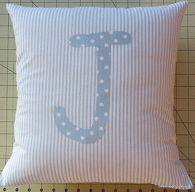 Boys Babies Personalised Christening Gift Name Initial Letter Cushion  Cover