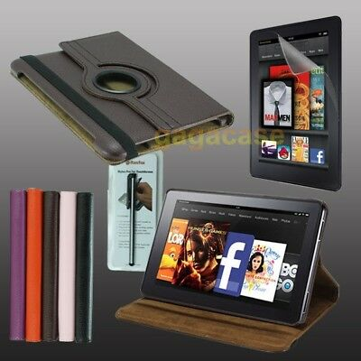 BR Amazon Kindle Fire HD 7 Inch Leather Cover Stand Case+Screen Protector+Stylus