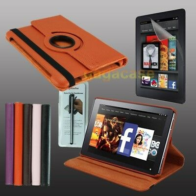 OR Amazon Kindle Fire HD 7 Inch Leather Cover Stand Case+Screen Protector+Stylus