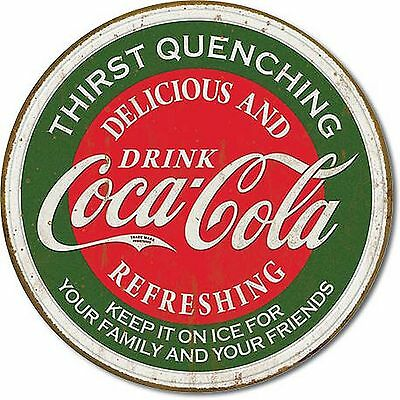 Coca Cola Coke Logo Thirst Quenching Green Round Distressed Vintage Tin Sign