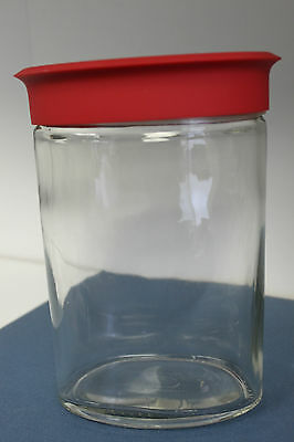 MODERN GLASS CANISTER JAR WITH RED STAINLESS TOP OVAL