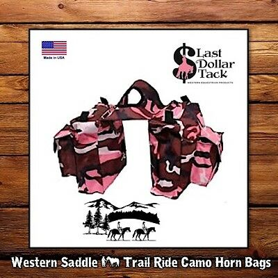 Western Saddle Horn Bags ~Shower Proof Pink Camo ~Handy Storage For Trail Rides