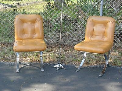 Pair of Mid Century Modern Barcelona Style Side Accent Chairs Baughman Style