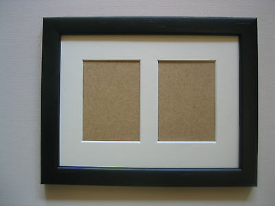 Black Wooden Double Aceo/School Picture Frame With 2 Holes,Ivory Mount