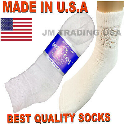 BEST QUALITY 6 pair of mens white diabetic ankle socks. 10-13 sz ( MADE IN USA )